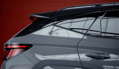 Detail of the passenger side windows and c-pillar of the all-new Hyundai TUCSON N Line.