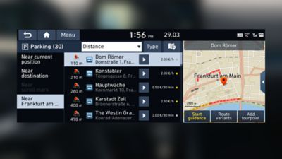 Close up image of the parking information feature in the Hyundai i30 Fastback N.