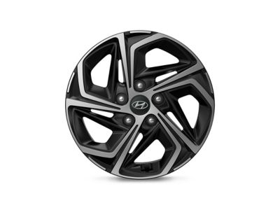 Detail image of a Hyundai diamond-cut alloy wheel.