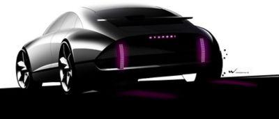 Hyundai Prophecy elektrisk konseptbil sett bakfra. Illustrasjon.