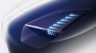 Hyundai Prophecy elektrisk konseptbil frontlys. Illustrasjon.