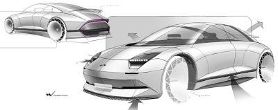 Bardziej dokładny szkic samochodu koncepcyjnego, uzupełniony o kolory i szczegóły