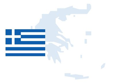 Flag and outline of Greece