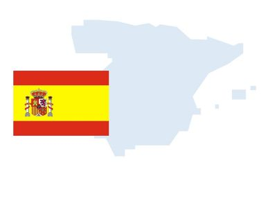 Flag and outline of Spain