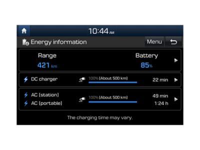 Illustrazione che mostra le impostazione di ricarica programmabile di Nuova Hyundai Kona Electric.