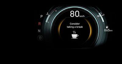 Ilustración del sistema de atención al conductor (DAW) del Hyundai IONIQ Híbrido.