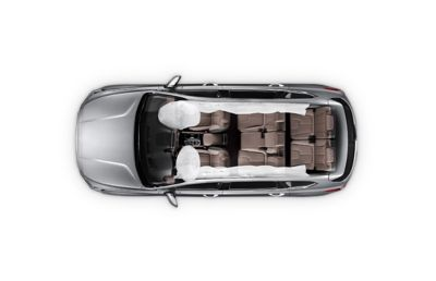 The location of the six airbags in the new Hyundai Santa Fe Hybrid 7 seat SUV.