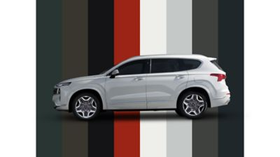 The multiple color options of the new Hyundai Santa Fe Plug-in Hybrid 7 seat SUV.