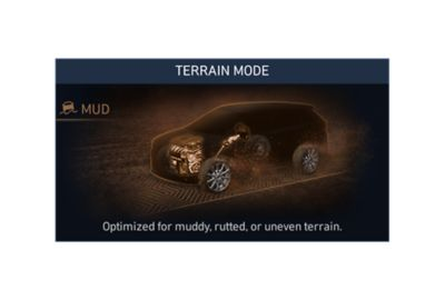 Illustration of the mud terrain mode of the new Hyundai Santa Fe Hybrid 7 seat SUV.