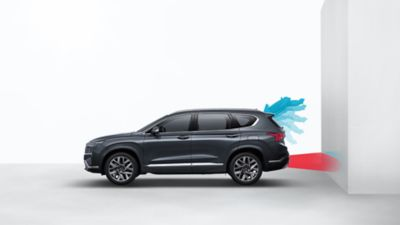 Image of the Tailgate open guide of the new Hyundai Santa fe Hybrid 7 seat SUV.
