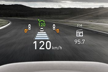 A picture of the head-up display inside the new Hyundai Santa Fe Hybrid SUV.