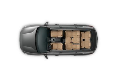 A birds-eye-view of the new Hyundai Santa Fe Hybrid showing the giant cabin and luggage space.