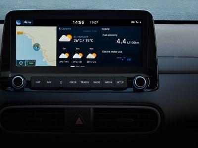 "Immagine del Sistema di navigazione da 10,25"" di Hyundai Kona Hybrid."