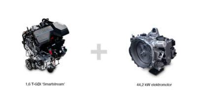 Umístění zážehového motoru a elektromotoru v sedmimístném SUV Hyundai Santa Fe Hybrid.