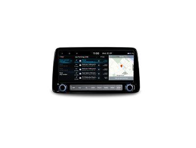 Informacje o miejscach parkingowych na 10,25-calowym ekranie Nowego Hyundaia KONA.