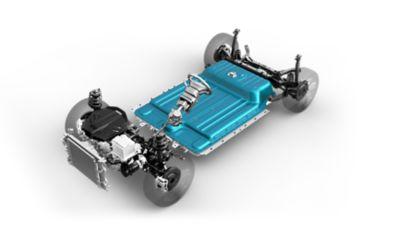 Immagine del propulsore e della batteria di Nuova Kona Electric.