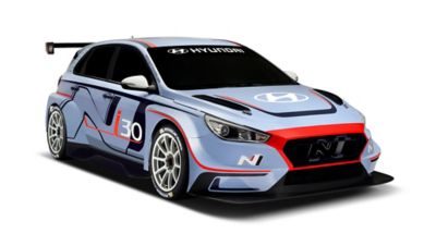 The Hyundai i30 N TCR, shown from the front and side.