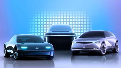 Tre veicoli elettrici Hyundai IONIQ incluso IONIQ 5
