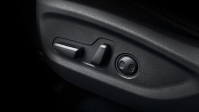 Detail view of the seat control panel on the new Hyundai Tucson.