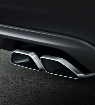 Detail view of the new Hyundai Tucson's tail-pipes.