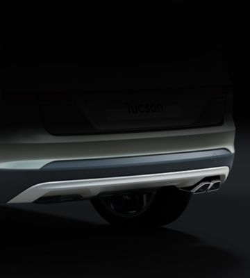 Detail view of the new Hyundai Tucson's rear skid plate.