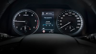Photo of the supervision cluster in the new Hyundai Tucson.