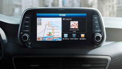 """View of the 8"""" navigation screen in the new Hyundai Tucson."""