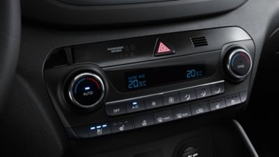Details view of the climate controls on the new Hyundai Tucson.