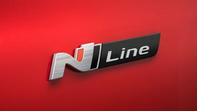 Close up of the sleek N Line emblem on the Hyundai Tucson N Line.