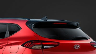 Close up of the black rear spoiler on the Hyundai Tucson N Line.
