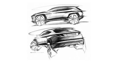 Design sketch of the all-new Hyundai Tucson compact SUV pictured from the rear and side.