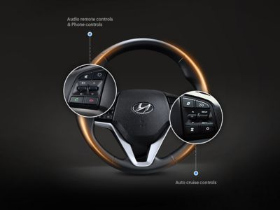Photo illustrating the location of remote control buttons on the new Hyundai Tucson's steering wheel.