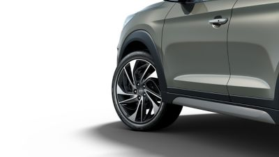 Image showing the tyre of a new Hyundai Tucson.