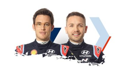 Hyundai Motorsport driver and co-driver Thierry & Nicolas