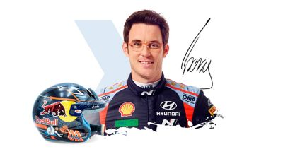 Hyundai Motorsport driver Thierry Neuville and his helmet.