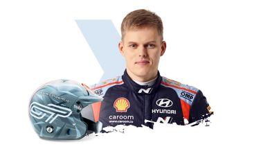 Hyundai Motorsport driver Ott Tänak and his helmet