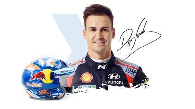 Hyundai Motorsport driver Dani Sardo, his signature and helmet.