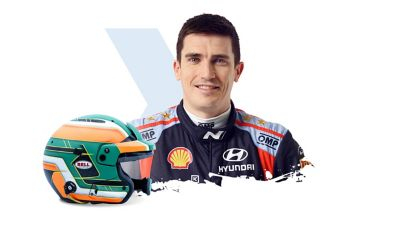 Hyundai Motorsport driver Craig Breen and his helmet.