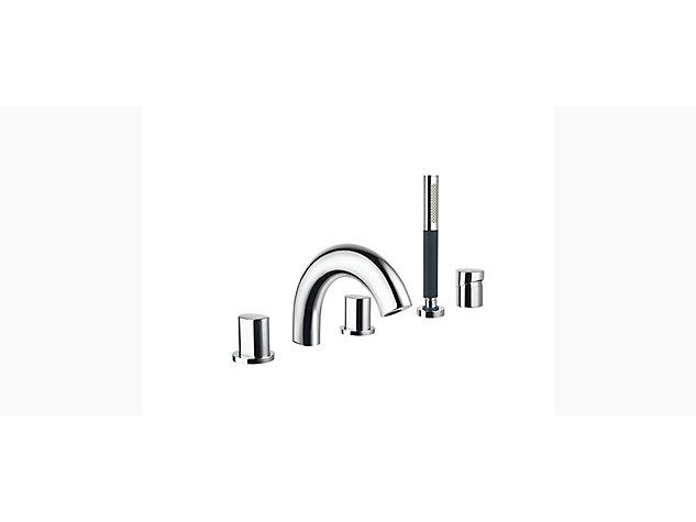 Oblo 3-handle 5-hole deck-mount bath filler with handshower and diverter