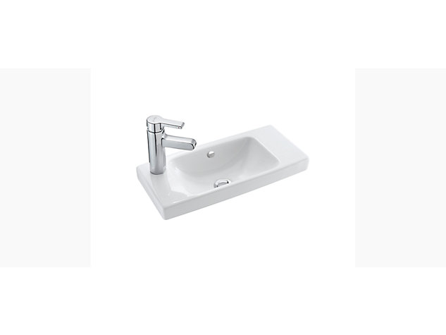 Reach 500mm Compact hand wash basin left hand tap deck