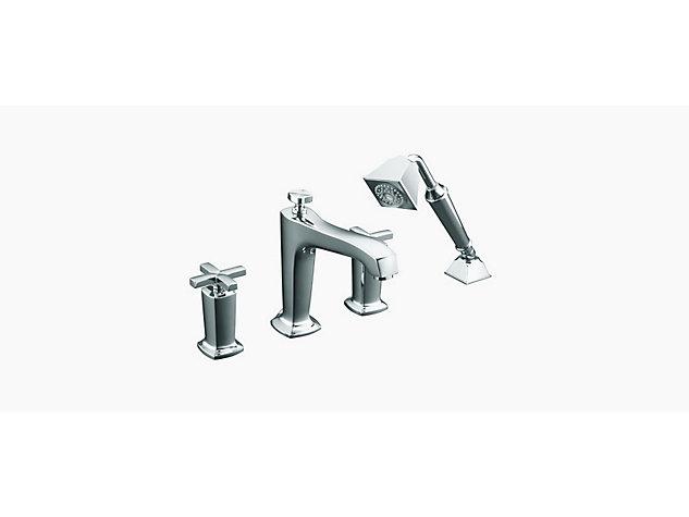 Margaux 2-handle 4-hole deck-mount bath filler with hand shower cross handle