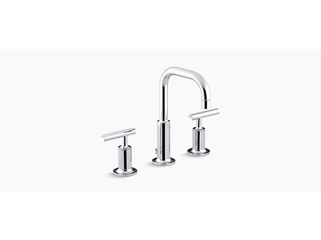 Purist 2-handle 3-hole basin mixer low gooseneck spout lever handle