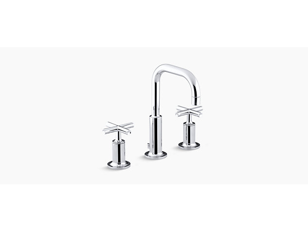 Purist 2-handle 3-hole basin mixer low gooseneck spout cross handle