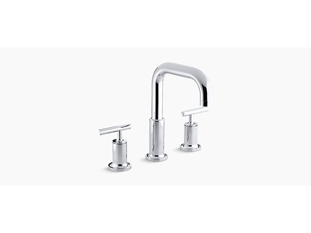 Purist 2-handle 3-hole deck-mount bath filler lever handle