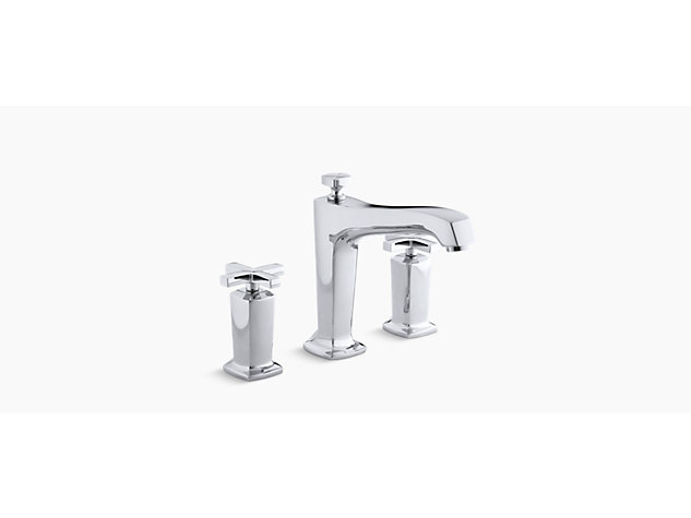 Margaux 3-hole deck-mount bath filler cross handle