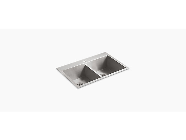 Vault Inset Under-mount 838mm Large Double-Equal 1 tap hole