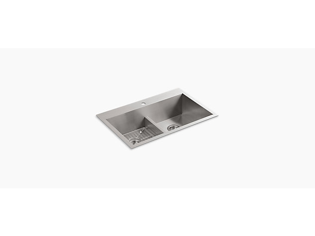 Vault Inset Under-mount 838mm Smart Divide Double-Equal 1 tap hole