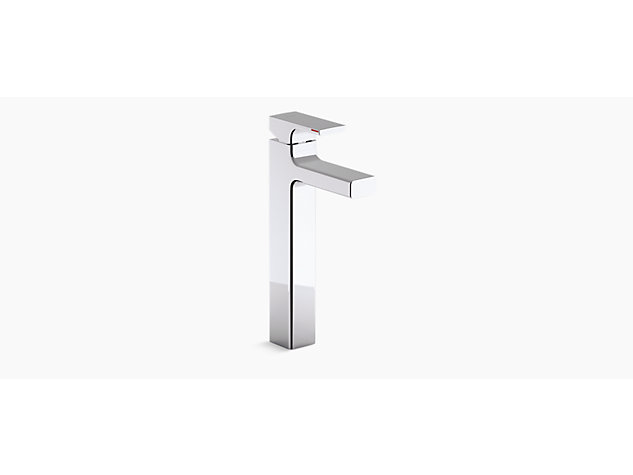 Tall single-lever monobloc basin mixer includes pop-up waste