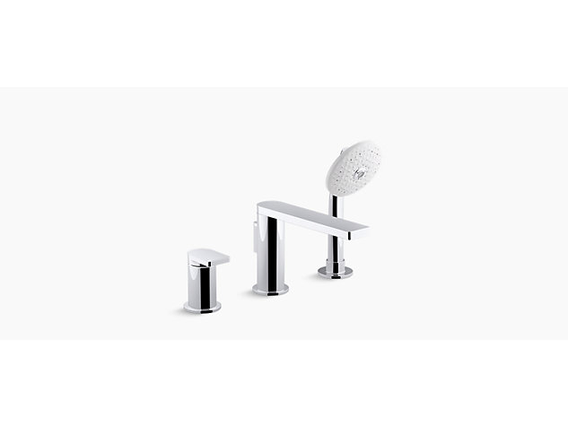 Composed 3-hole deck mount bath filler with handshower