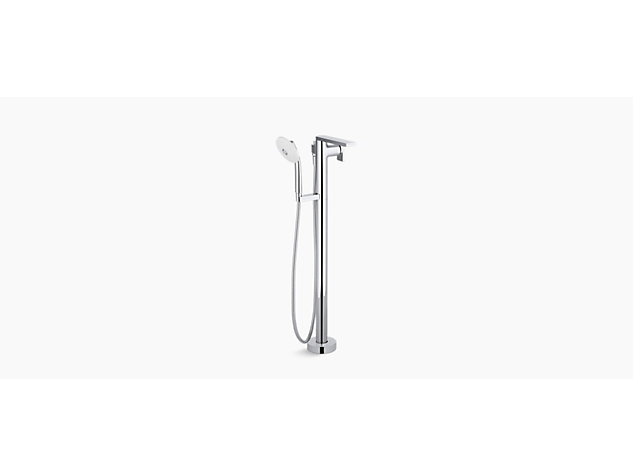 Composed floorstanding bath and shower mixer